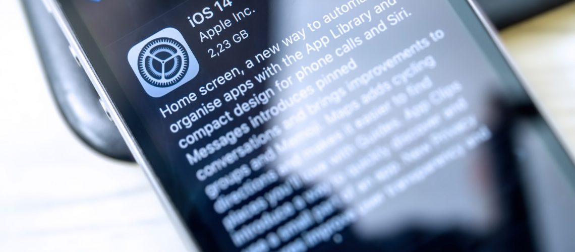 iPhone screen with iOS 14 update